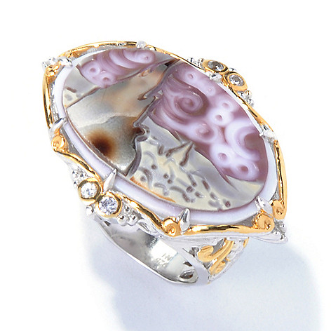 129-848 - Gems en Vogue II 25mm Hand-Carved Tiger Shell ''Starry Night'' Cameo Ring