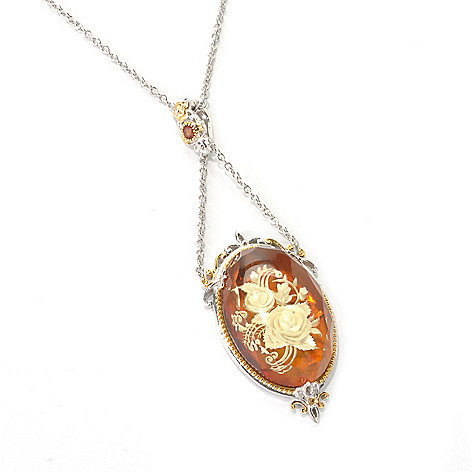 129-849 - Gems en Vogue 30 x 20mm Carved Amber Intaglio Enhancer Pendant w/ 18'' Chain