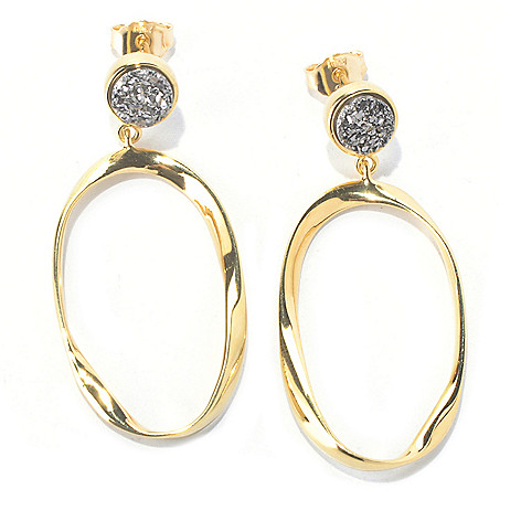 129-862 - Portofino 18K Gold Embraced™ 1.75'' Drusy Button & Twisted Oval Dangle Earrings