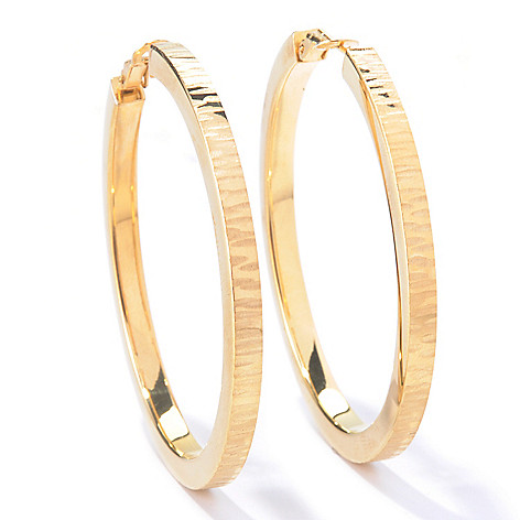 129-864 - Portofino Gold Embraced™ Textured Hoop Earrings