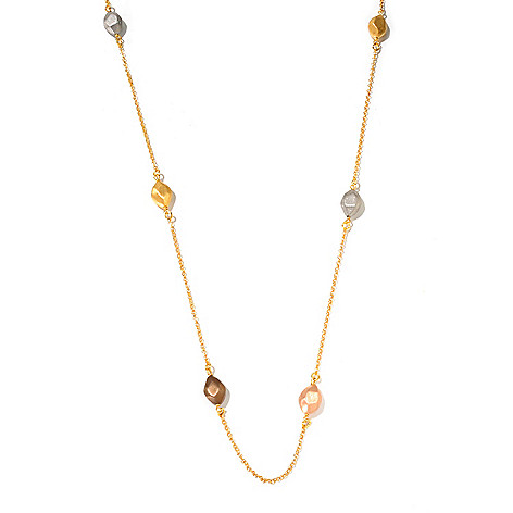 129-866 - Portofino Gold Embraced™ 72'' Satin Finished Bead Station Necklace