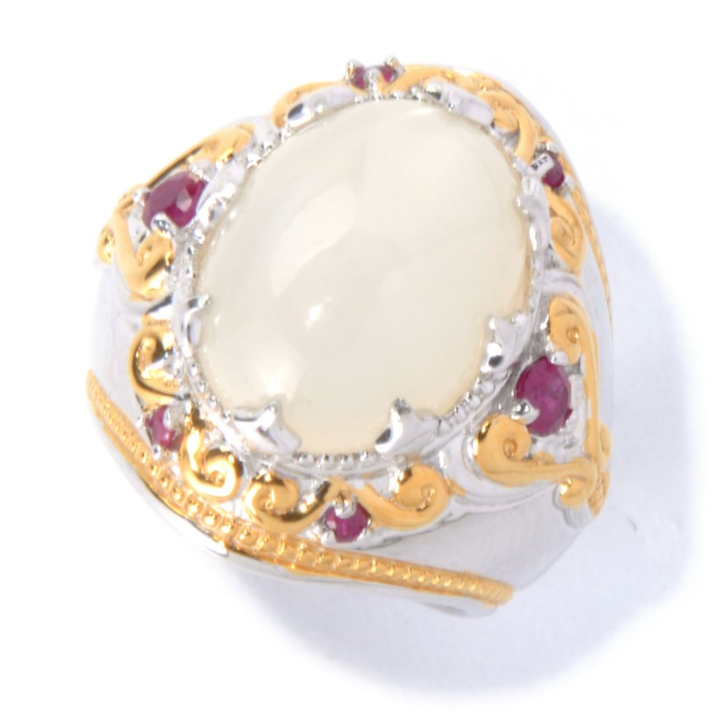 129-870 - Gems en Vogue II 16 x 12mm Moonstone & Ruby Ring