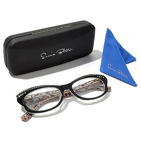 129-871 - Sonia Bitton 1.08 DEW Simulated Diamond Reading Glasses w/ Case & Cloth