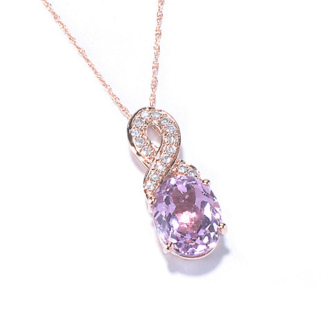 129-874 - Gem Treasures 14K Rose Gold 2.80ctw Oval Pink Kunzite & Diamond Pendant w/ Chain