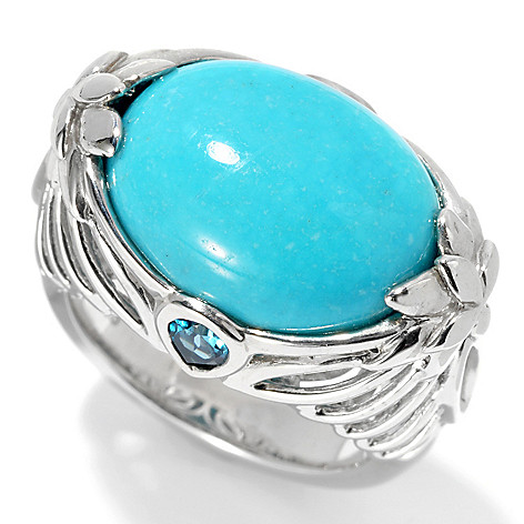 129-876 - Gem Insider 16 x 12mm Oval Sleeping Beauty Turquoise & Topaz East-West Ring