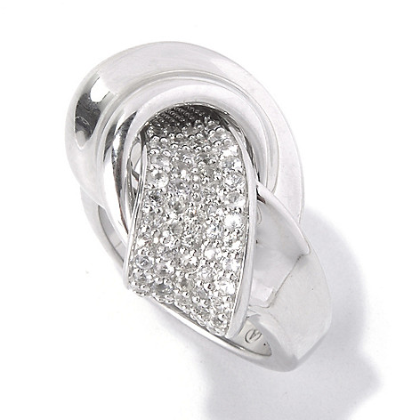 129-877 - Gem Treasures Sterling Silver 1.00ctw White Sapphire Abstract Knot Ring