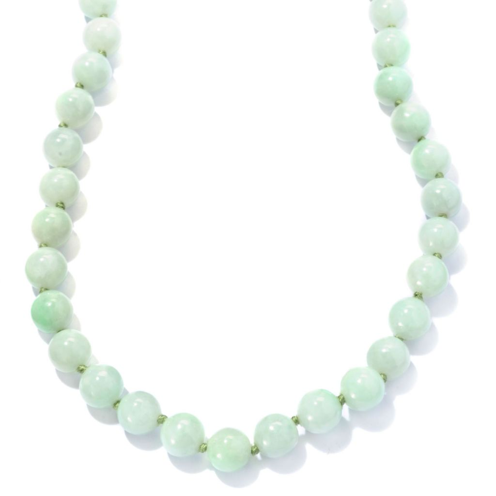 "129-880 - Sterling Silver 18"" Natural Light Green Jade Bead Necklace"