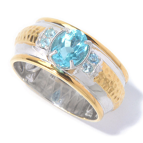 129-884 - Men's en Vogue II 1.55ctw Brazilian Apatite Hammered & Polished Ring