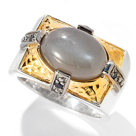 129-893 - Men's en Vogue II 14 x 10mm Moonstone & Black Spinel Hammered Ring