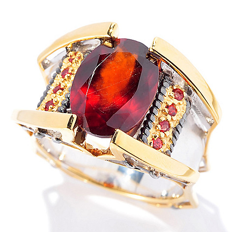 129-894 - Men's en Vogue II 6.71ctw Hessonite Garnet & Orange Sapphire Ring