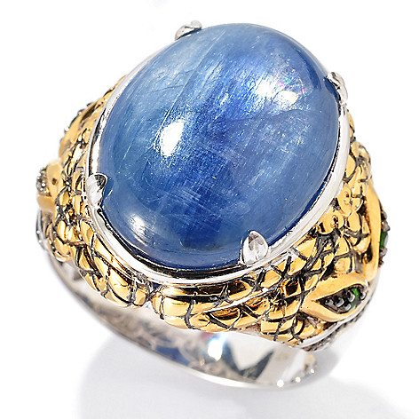 129-895 - Men's en Vogue II 20 x 15mm Kyanite & Chrome Diopside Snake Ring