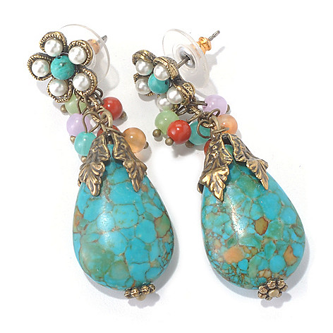 129-902 - Sweet Romance™ Flower Glass Bead Teardrop Earrings