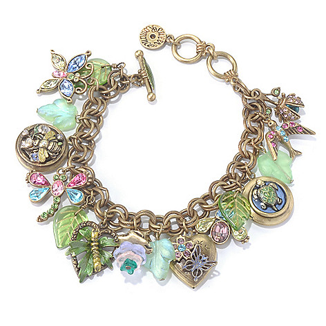 129-906 - Sweet Romance™ 8'' Multi Color Crystal & Glass ''Paradise Garden'' Charm Bracelet