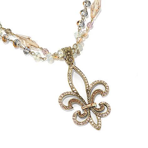 129-909 - Sweet Romance™ 21.5'' Fleur-de-lis Two-Strand Beaded Necklace
