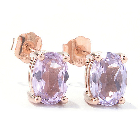 129-922 - Gem Treasures 14K Rose Gold 3.26ctw Oval Kunzite Stud Earrings