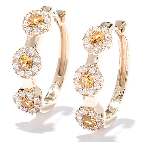129-923 - Sonia Bitton 1'' Genuine Gemstone & Simulated Diamond Halo Oval Hoop Earrings