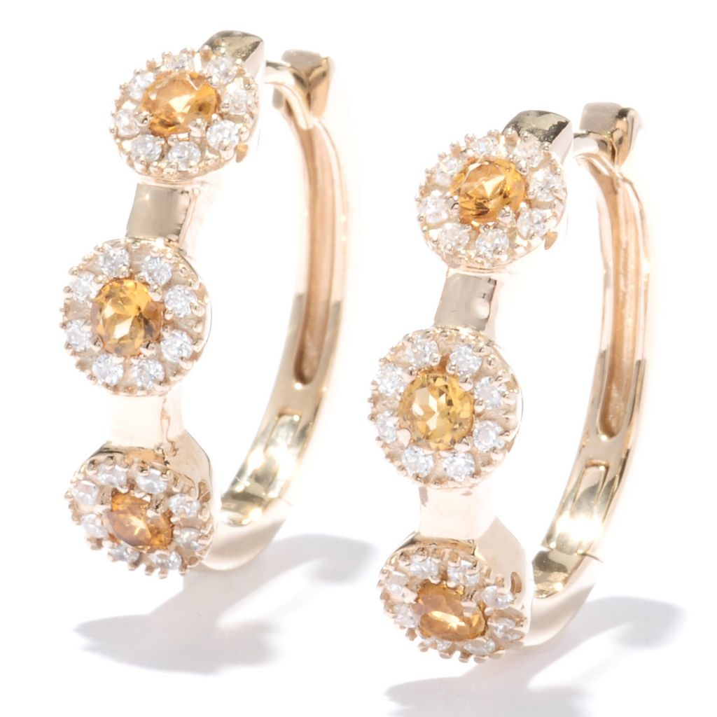 "129-923 - Sonia Bitton 1"" Genuine Gemstone & Simulated Diamond Halo Oval Hoop Earrings"