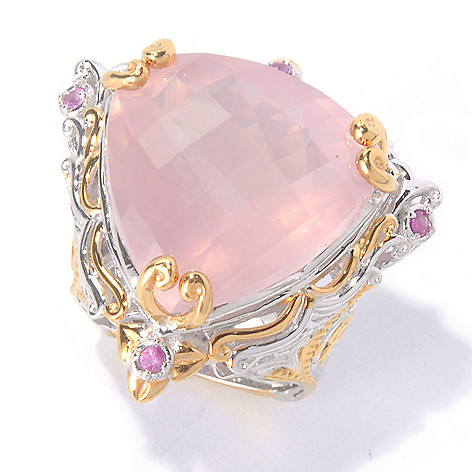 129-926 - Gems en Vogue 20mm Rose Quartz Trillion & Pink Sapphire Ring