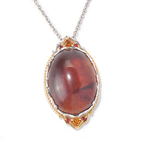 129-929 - Gems en Vogue 25 x 18mm Sumatran Fluorescent Amber & Multi Gemstone Pendant w/ Chain