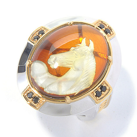 129-930 - Men's en Vogue II 22 x 17mm Carved Amber Horse Intaglio & Black Spinel Ring