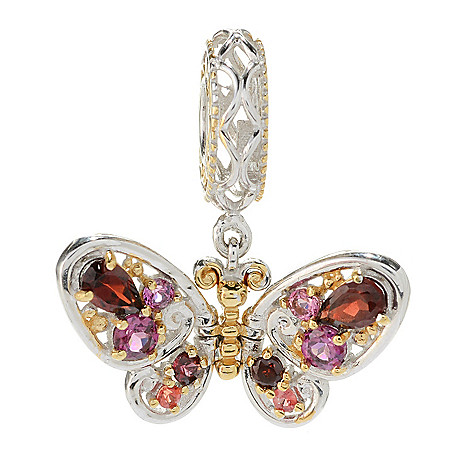 129-933 - Gems en Vogue Amethyst & Multi Color Sapphire Fluttering Butterfly Charm