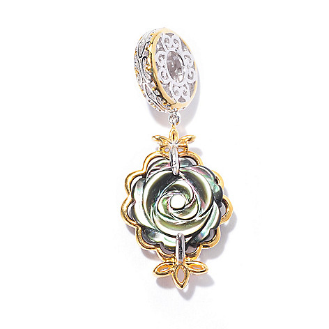 129-934 - Gems en Vogue II 12mm Carved Mother-of-Pearl Double Sided Flower Charm