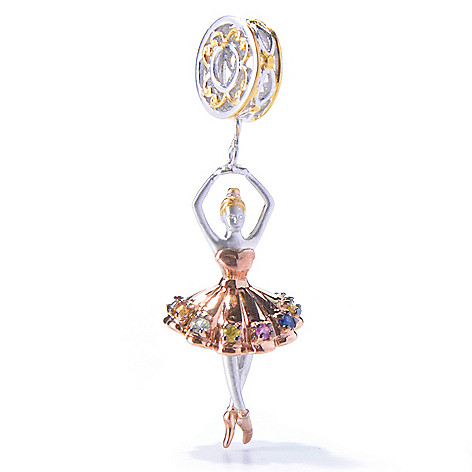 129-936 - Gems en Vogue Multi Color Sapphire Ballerina Drop Charm