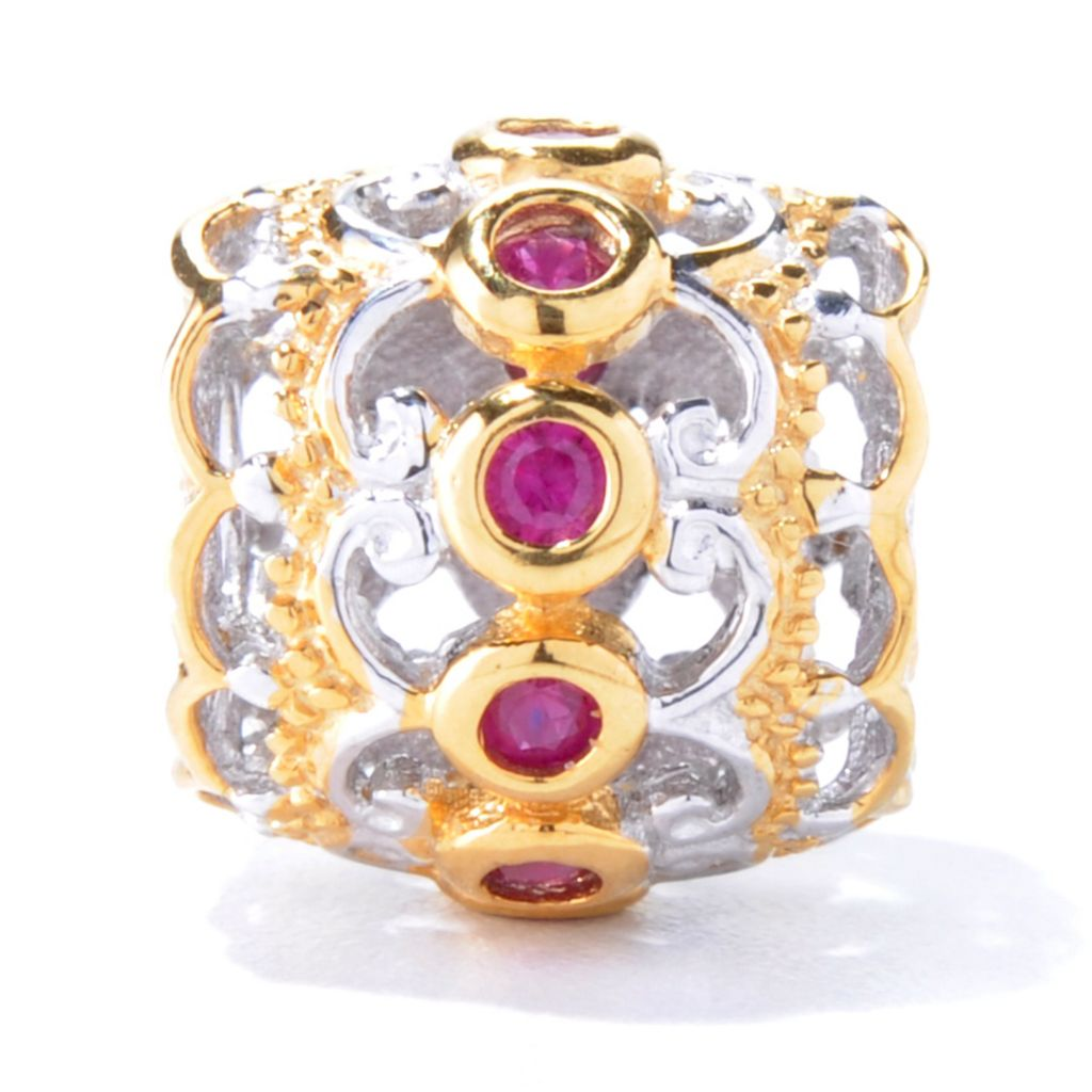 129-937 - Gems en Vogue Two-tone Ruby Slide-on Charm