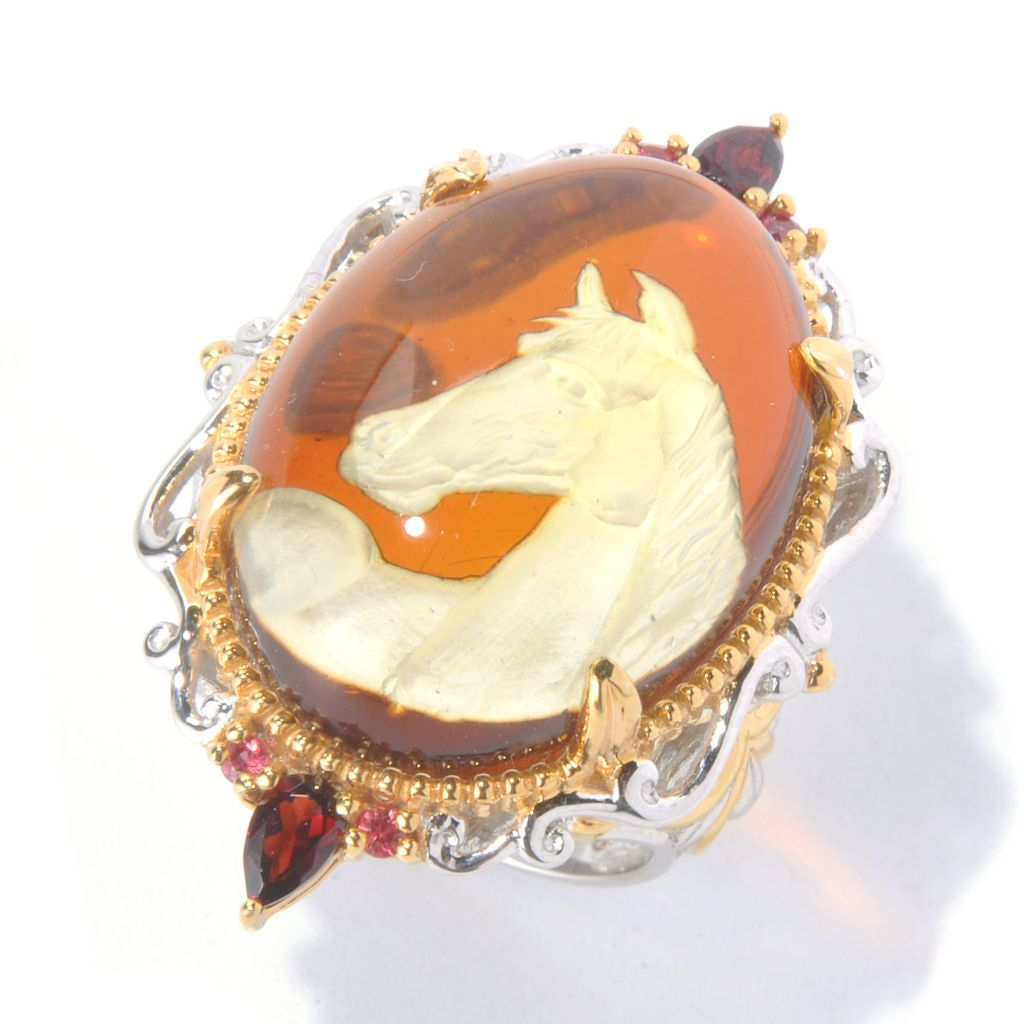 129-939 - Gems en Vogue II Carved Amber Horse Intaglio, Garnet & Orange Sapphire Ring