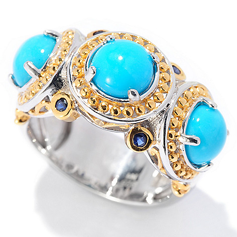 129-940 - Gems en Vogue II Sleeping Beauty Turquoise & Sapphire Band Ring