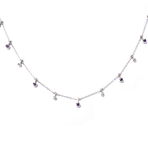 129-959 - Sonia Bitton Platinum Embraced™ 18'' Amethyst & Simulated Diamond Toggle Necklace
