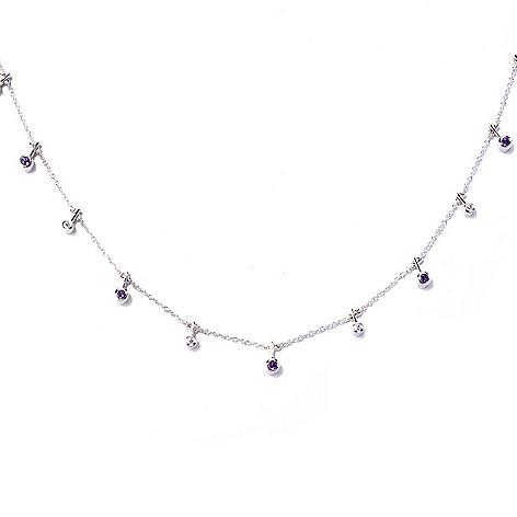 129-959 - Sonia Bitton Platinum Embraced™ 18'' Amethyst & Simulated Diamond Toggle Necklace