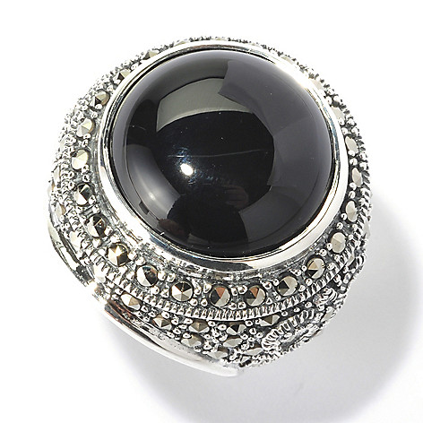 129-963 - Dallas Prince 16mm Round Black Onyx Ring Made w/ Swarovski® Marcasite