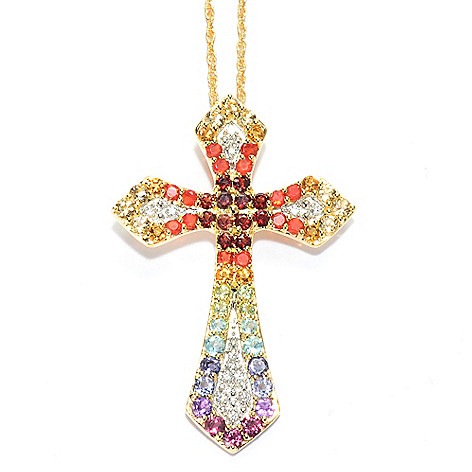 129-971 - NYC II 2.40ctw Multi Gemstone Exotic Rainbow Cross Pendant w/ 18'' Chain