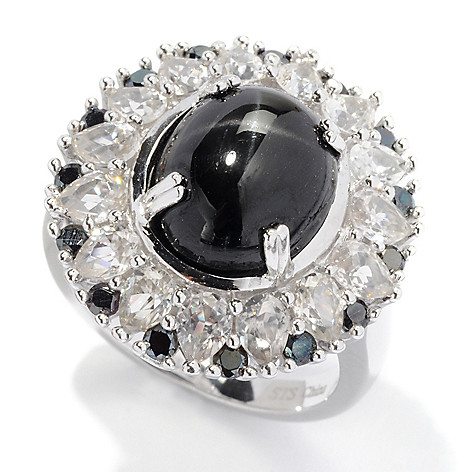 129-973 - NYC II 12 x 10mm Black Star Diopside, White Zircon & Black Spinel Ring