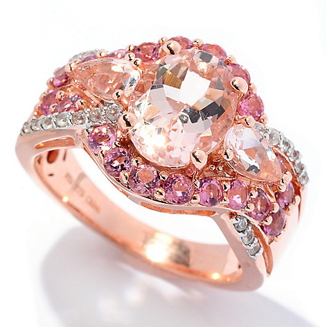 129-976 - NYC II™ 2.45ctw Morganite, Pink Tourmaline & White Zircon Halo Ring