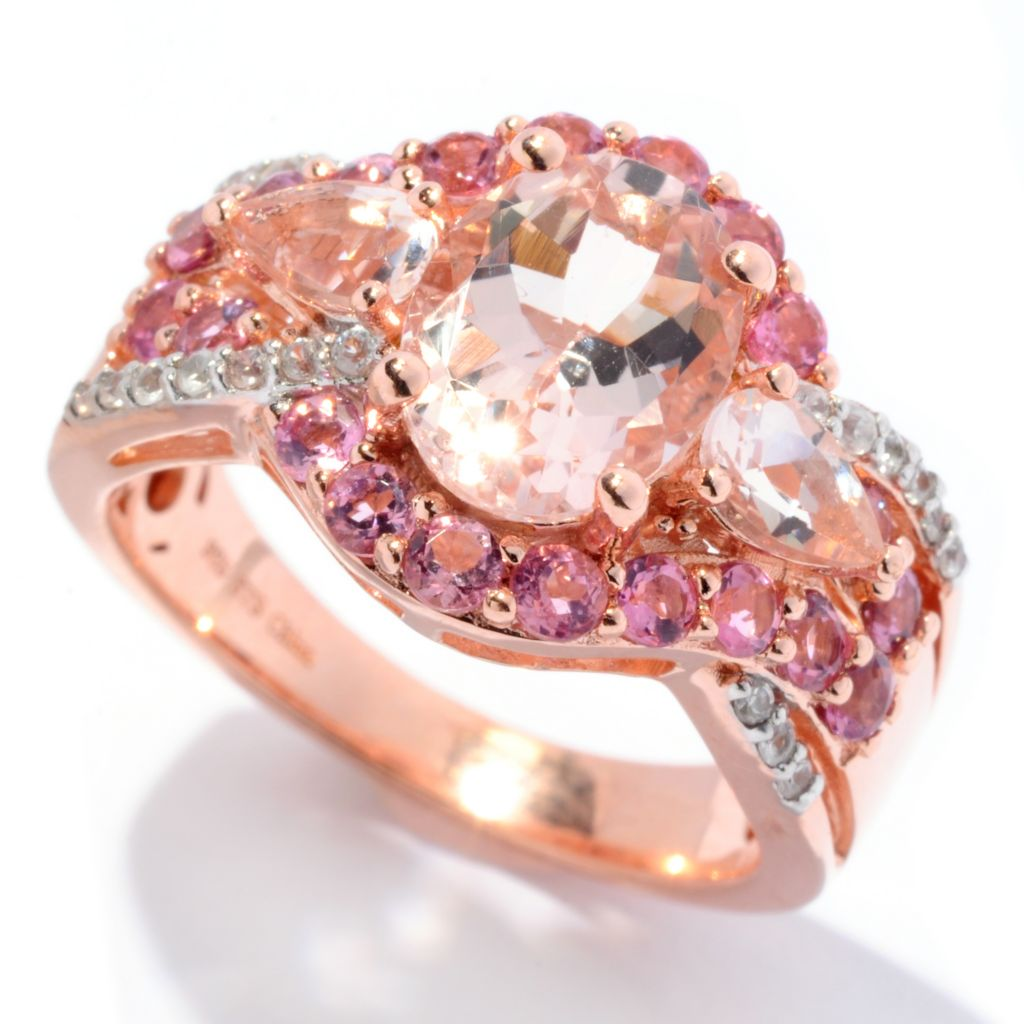 129-976 - NYC II 2.45ctw Morganite, Pink Tourmaline & White Zircon Halo Ring