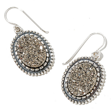 129-984 - Passage to Israel Sterling Silver 16 x 12mm Platinum Drusy Drop Earrings