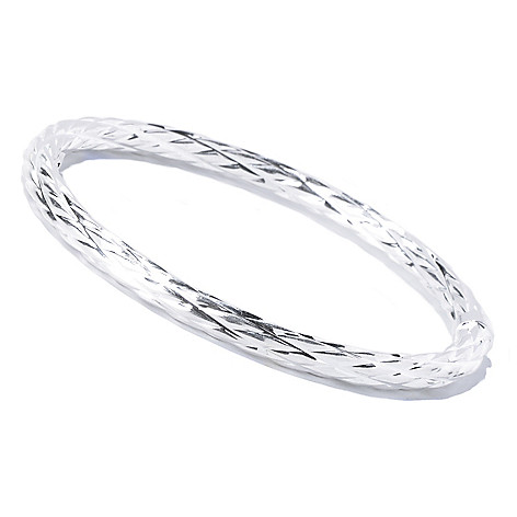 129-991 - SempreSilver® Textured Slide-on Bangle Bracelet