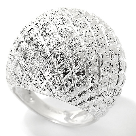 129-994 - SempreSilver® Textured Basket Weave Dome Ring