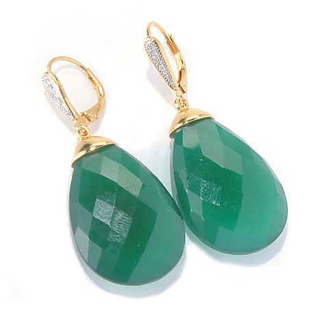 130-007 - NYC II Gemstone & Diamond Briolette 1.75'' Drop Earrings