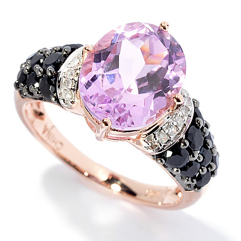 130-008 - Gem Treasures® 14K Rose Gold 5.32ctw Oval Kunzite, Spinel & Diamond Ring