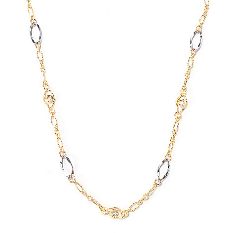 130-017 - Italian Designs with Stefano 14K Two-tone Station Necklace