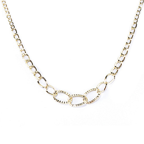 130-018 - Italian Designs with Stefano 14K Gold 18'' Graduated Curb Link Necklace