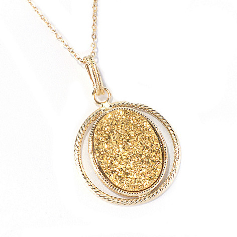 130-022 - Italian Designs with Stefano 14K Gold 20 x 15mm Golden Drusy Pendant w/ Chain