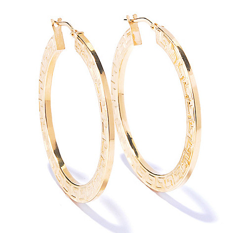 130-030 - Portofino Gold Embraced™ Greek Key Design Hoop Earrings