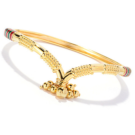 130-033 - Jaipur Bazaar Gold Embraced™ 7.75'' Enamel & Bead Charm Bangle Bracelet