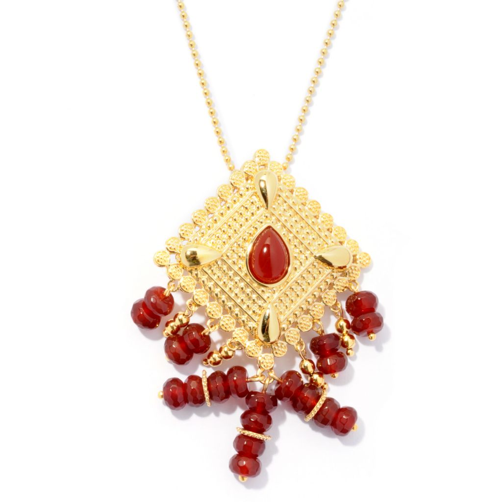 "130-037 - Jaipur Bazaar Gold Embraced™ Red Agate Ornate Pendant w/ 20"" Chain"
