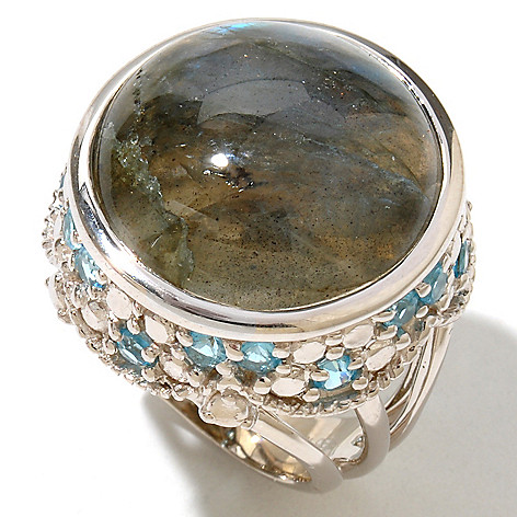 130-042 - Gem Insider Sterling Silver 20mm Round Labradorite & Blue Topaz Ring