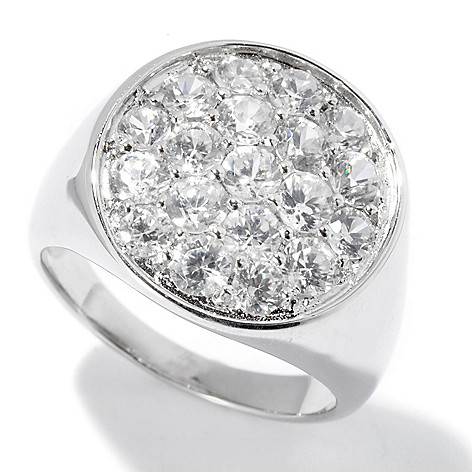 130-052 - Gem Treasures Men's Sterling Silver 4.32ctw White Zircon Round Ring